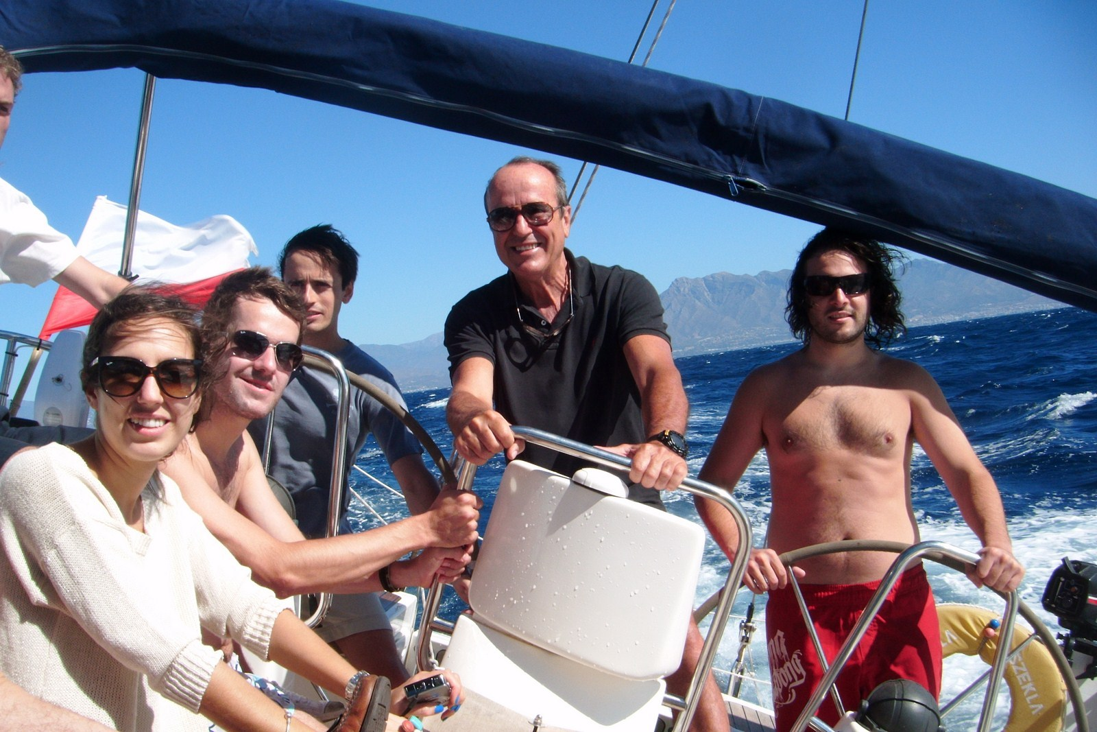 Friends cruise on the Costa del Sol